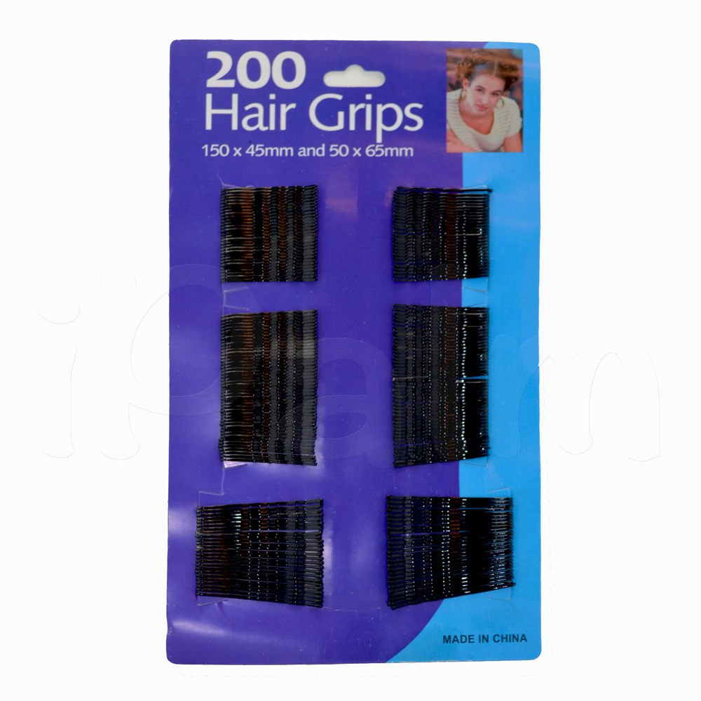 200pc Black Hair Grips Clips Bobby Kirby Pins Clamps Salon Waved Slide hardeep uk ltd