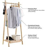 Generic * Folda Rack Shoe Foldable C Clothes Laundry 4 Hooks F 4 Hooks Foldable lothes Lau Bamboo Garment Stand Color:Random Stand Shelf Storage Garment Stand