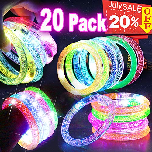 20 PACK LED Bracelets Light Up Toys, Bulk Glow in the Dark Supplies Prime Deal for Graduation Carnival Concert Party Favors Flashing Bracelet, LED Glow Bracelets Party Accessories Games Fun -