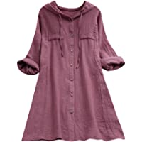 HOMEBABY Plus Size Womens Cotton Linen Long Sleeve Tunic Top Hooded Pocket Loose Blouse Ladies Classic Spring Winter Baggy Fashion Sweatshirt T-Shirt