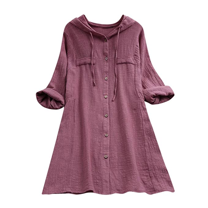 25fd58797276c HOMEBABY Plus Size Womens Cotton Linen Long Sleeve Tunic Top Hooded Pocket Loose  Blouse Ladies Classic Spring Winter Baggy Fashion Sweatshirt T-Shirt  ...