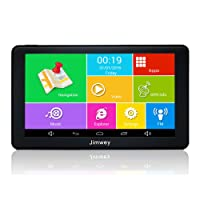 SAT NAV GPS Navigation System, Jimwey 7 Inch Android 16GB 512MB Car Truck Lorry Satellite Navigator with Post Code Search Speed Camera Alerts,UK and EU Latest 2018 Maps with Lifetime Free Updates