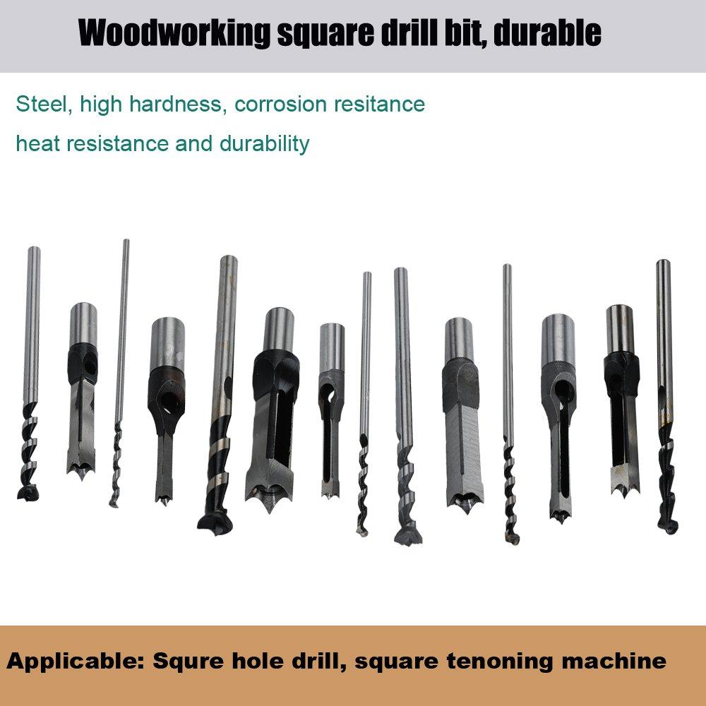 Square Hole Drill Bit, 7pcs Woodworking Mortiser Drill Bit, Steel Hardness Sharp Durable Mortising Chisel Set 1/2-Inch, 1/4-Inch, 3/4inch, 3/8-Inch, 5/8-Inch, 5/16-Inch, 9/16-Inch by SaferCCTV (Image #2)