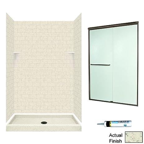 Swanstone STP3248050-M46570BR Square Tile Alcove Shower Kit 48-Inch ...