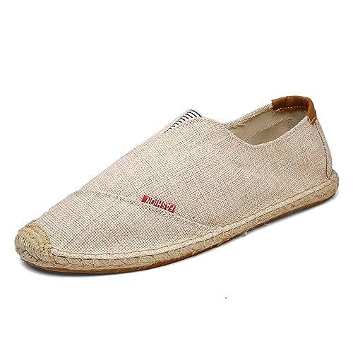 Estilo Chino Alpargatas para Hombre Linen Espadrilles Caqui Lona Zapatillas: Amazon.es: Zapatos y complementos
