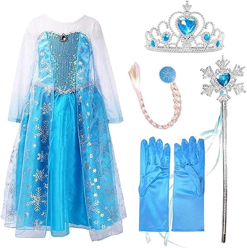 Disfraz de princesa de la nieve con accesorios Azul azul 5-6Años ...