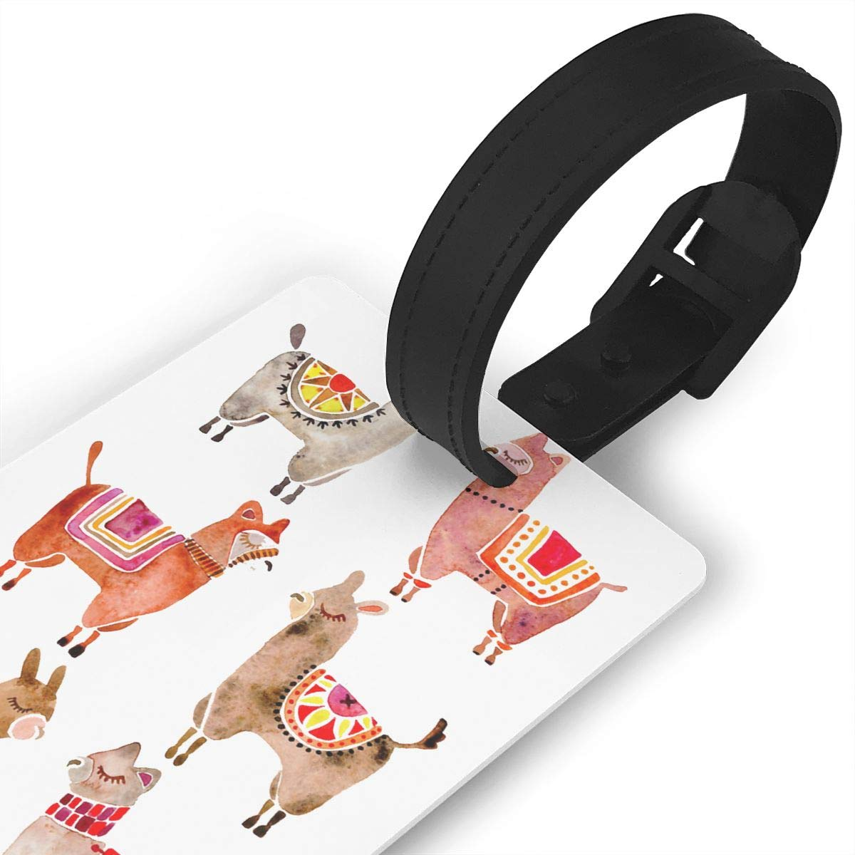 Set of 2 Alpacas Luggage Tags Suitcase Labels Bag Travel Accessories