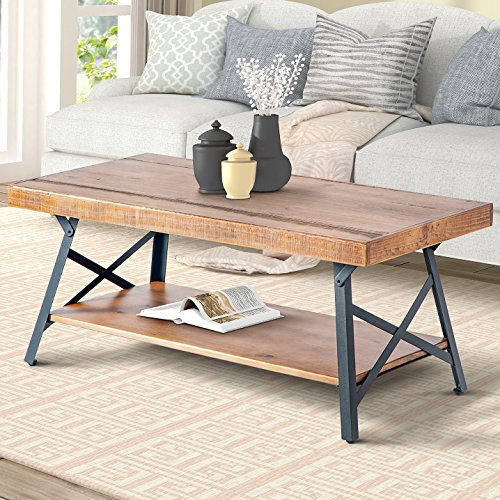 Harper&Bright Designs Wood Coffee Table with Metal Legs, Living Room - Pine Metal Table Coffee
