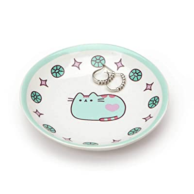 "Pusheen by Our Name is Mud ""Pusheen Blue Trinket Tray"" Stoneware Dish, 4 Inches: Toys & Games"