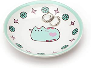 """Pusheen by Our Name is Mud """"Pusheen Blue Trinket Tray"""" Stoneware Dish, 4 Inches"""