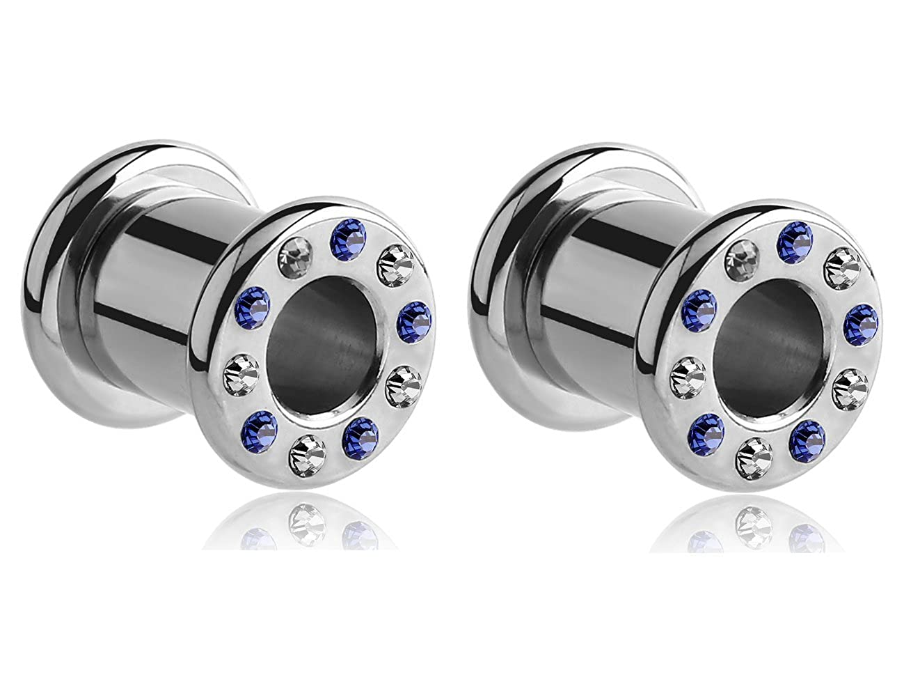 Holy Plug Body Piercing Jewelry Pair of 2 Stainless Steel Jeweled Round-Edge Threaded Tunnel 000g 0000g 9//16 5//8 11//16 13//16 7//8 15//16 1 1//16 1 1//8 11g 1 3//16 6g 4g 2g 0g
