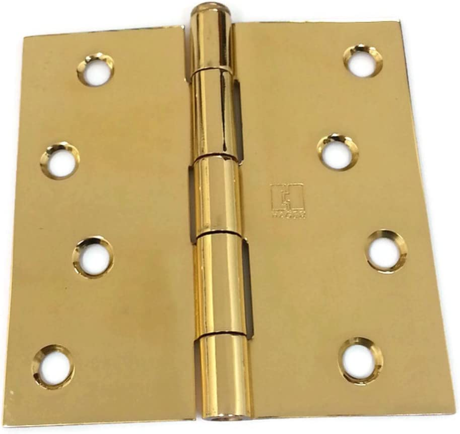 Residential Full Mortise 2 per box 1//4 Radius Corners Hager Solid Brass Door Hinge RC1541 4 x 4 US3 Polished Brass