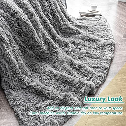 immtree Faux Fur Throw Blanket,Fuzzy Cozy Plush Fleece Couch Blanket,Reversible Fluffy Long Hair Shaggy Blanket,Decorative Fur Throw Blanket,Velvety Polyester Microfiber All Season Use 90''×90