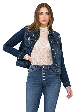 cb7051bcd Amazon.com: KAN CAN Dark Washed Denim Jacket with Light Distress ...