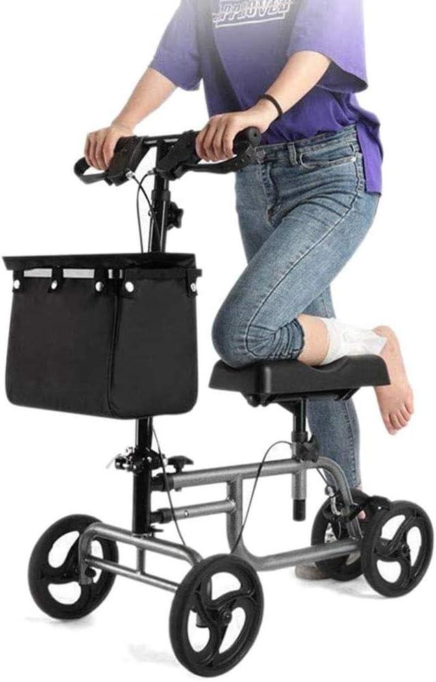 ZTKBG Plegable Rodilla Vespa Walker por Lesiones de Pierna y pie, 4 Ruedas giratorias Ayuda for Caminar de Gran Capacidad de Almacenamiento Bolsas de Altura Ajustable