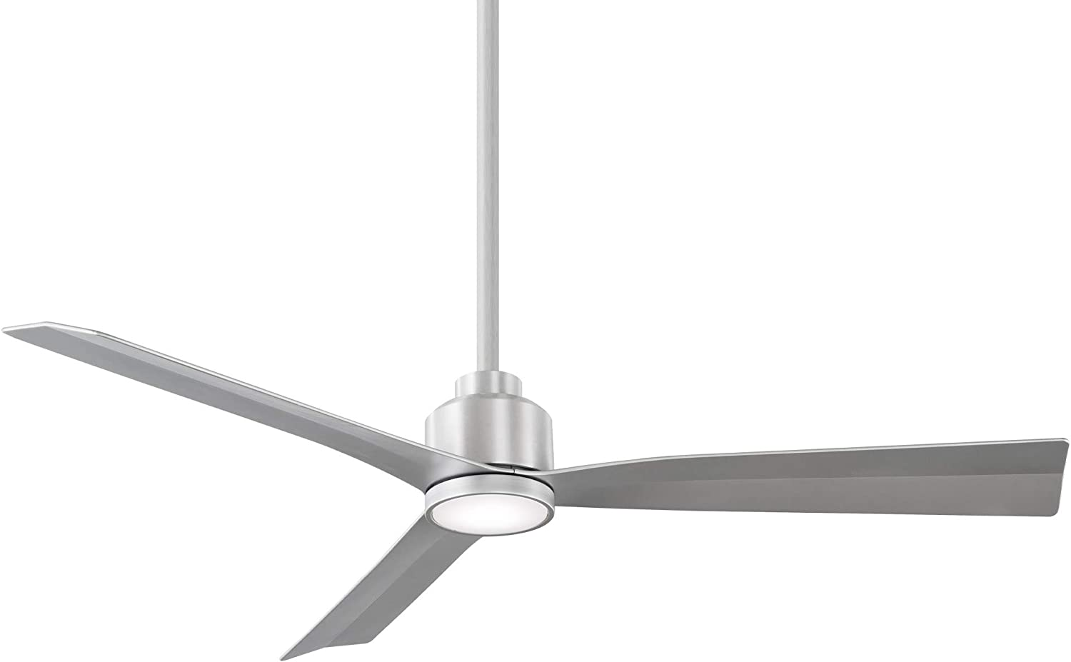 Clean Indoor/Outdoor 3-Blade Smart Compatible Ceiling Fan 52in Brushed Aluminum with 3000K LED Light Kit and Remote Control with Wall Cradle. Works with iOS/Android, Alexa, and Google Assistant.
