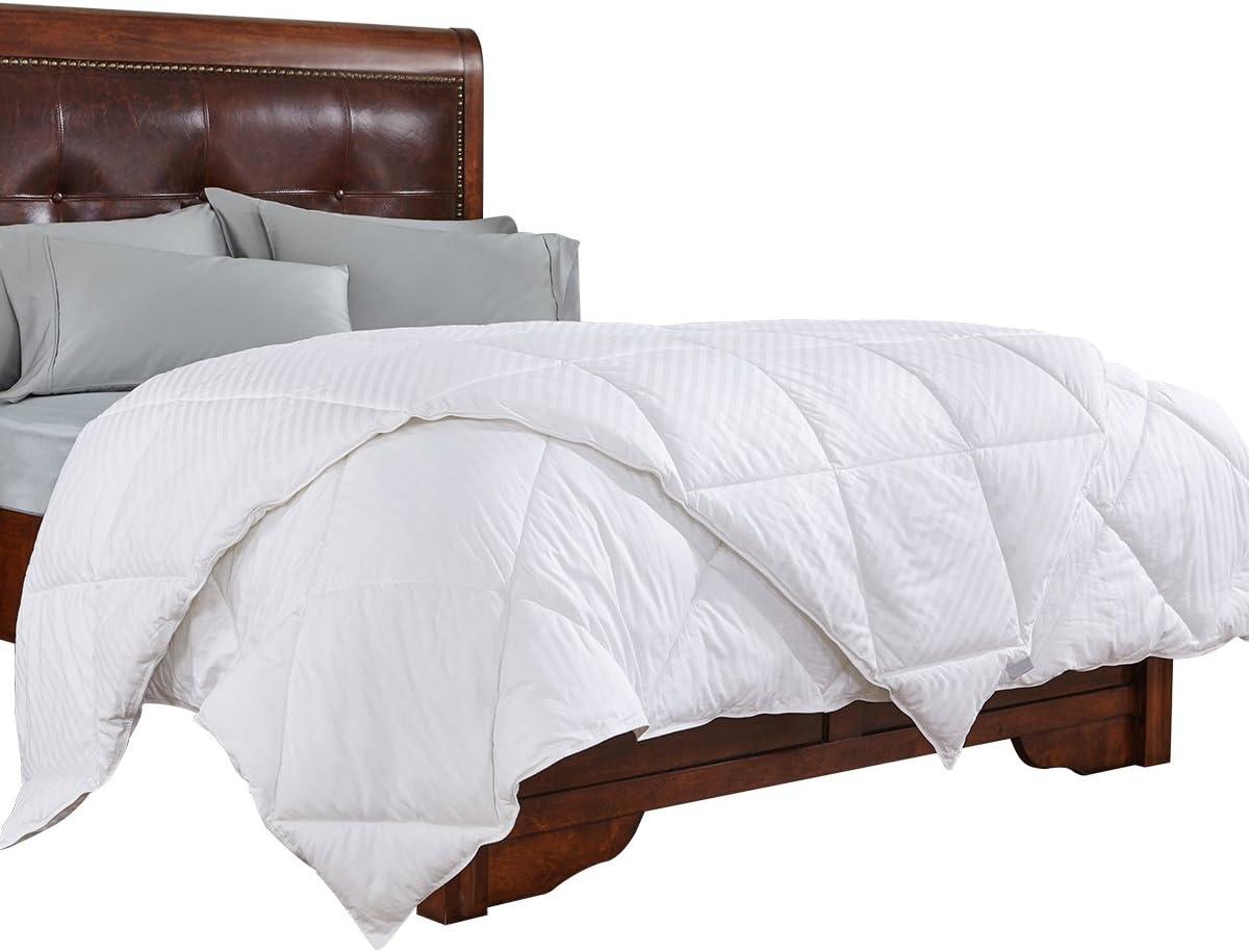 PEACE NEST All Season White Cotton Shell, Stripe Jarquard Down Alternative Comforter, Full/Queen Size