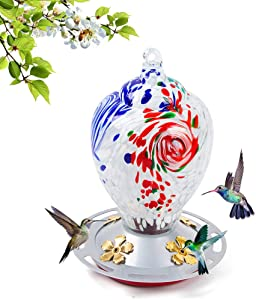 Hummingbird Feeders for Outdoors, 28 Ounces Nectar Bird Feeder, 8 Feeding Stations, Hand Blown Glass Hummingbird Feeders for Outside Hanging Garden Yard Decoration, Including S Hook and Ant Moat.