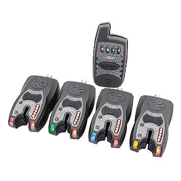 Juego de alarma inalámbrico para pesca de carpas de Hirisi Tackle, con receptor y banda led de luz nocturna, juego de 1 + 4 unidades