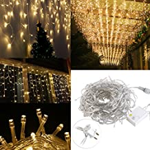 LED Icicle Lights, LEORX 16.5 ft 216 LED Plug in Fairy String Lights, Warm White Curtain Christmas Lights for Bedroom Patio Yard Garden Wedding Party