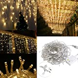 indoor icicle lights led - LEORX 216 LED Icicle Lights, 8 Modes, Indoor&Outdoor, Great for New Year Christmas Wedding Home Garden Party Decorations (Warm White)