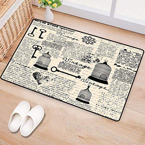 Scrollwork Cage (Old Newspaper Decor,Bath Mat,Grunge Pattern with Bird Cages Keys Heart Shapes and Flower,Door Mats for Inside Bathroom Mat Non Slip Backing,Black Cream Baby Blue 32