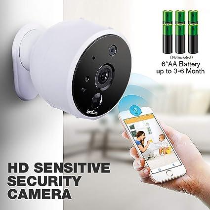 SpotCam - Cámara de vigilancia inalámbrica (Funciona con Pilas, para Interiores y Exteriores,