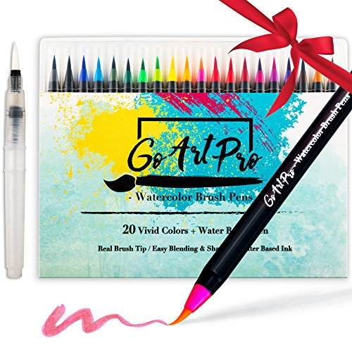 - Watercolor Brush Pens by GoArtPro | Set of 20 Color Soft Flexible Real Brush Pens + Bonus Watercolor Pen | Brush Tip Markers for Adult Coloring Books, Manga, Comic, Calligraphy