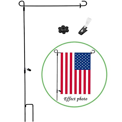 Garden Flag Stand Holder Pole with Flags Rubber Stopper and Anti-Wind Clip  Perfect Home Use Mini Outdoor Flagpole fits Season Garden Banners Free Iron