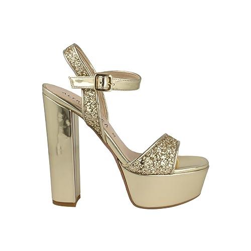 sports shoes eb040 d2fc3 Altramarea - Sandalo Plateau Glitter Platino 13154_Platino