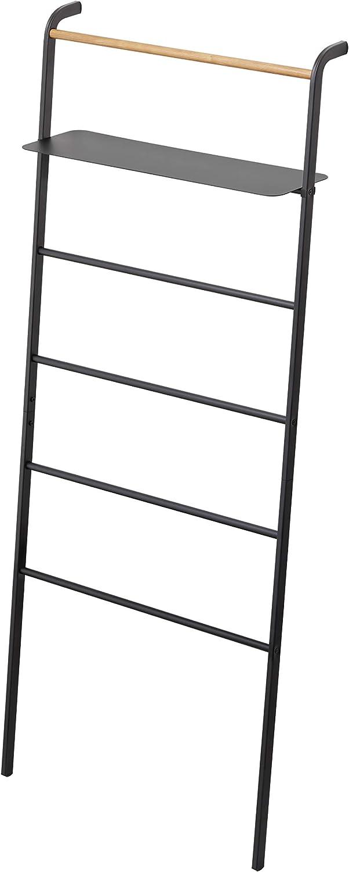 YAMAZAKI home Tower Leaning Ladder With Shelf Black