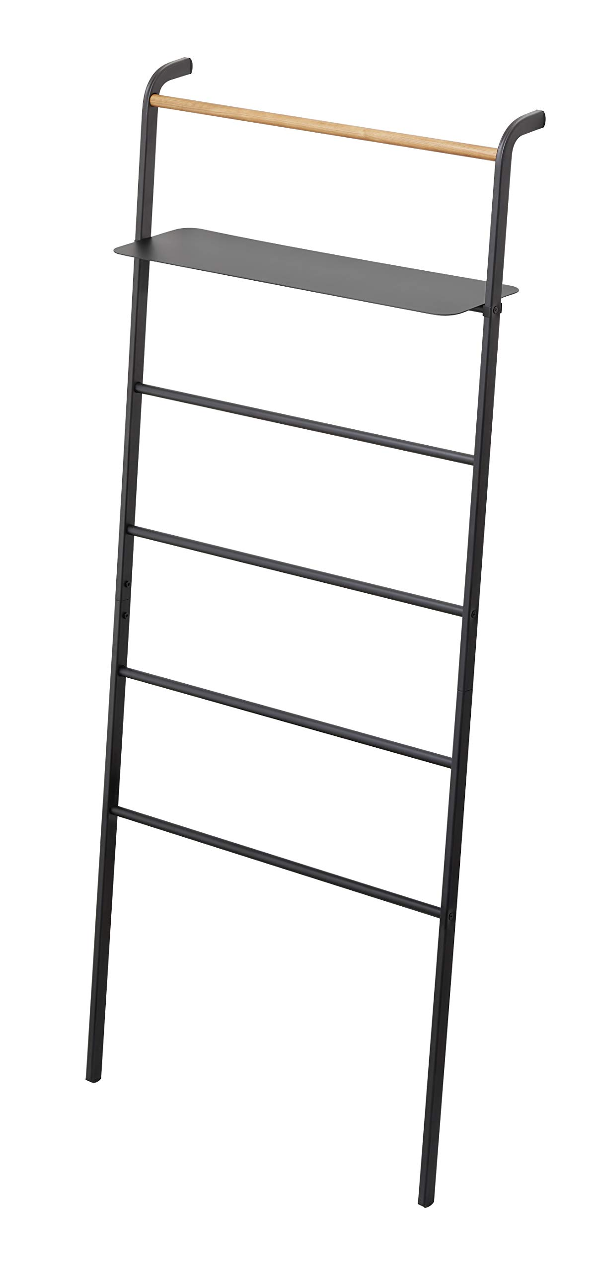 YAMAZAKI home Tower Leaning Ladder With Shelf Black by YAMAZAKI home