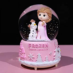 VECU Snow Globe for Kids with Music, 3.14 Inch Little Girl Llluminated Automatic Snow Home Decor for Girls Kids Gift, Musical, Resin/Glass (Large/Pink)