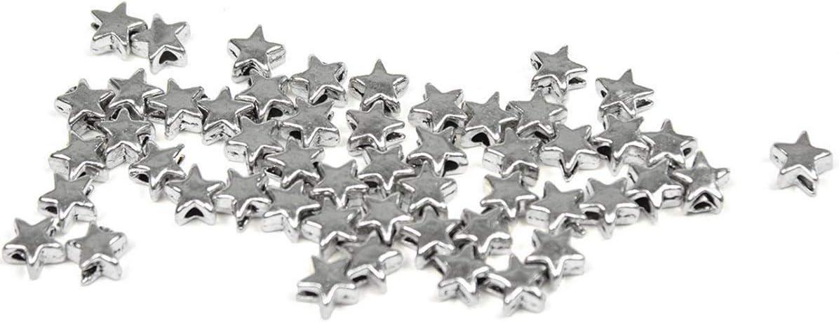Sadingo - Cuentas metálicas con Forma de Estrella, 500 Unidades, 6 x 6 mm, para Manualidades