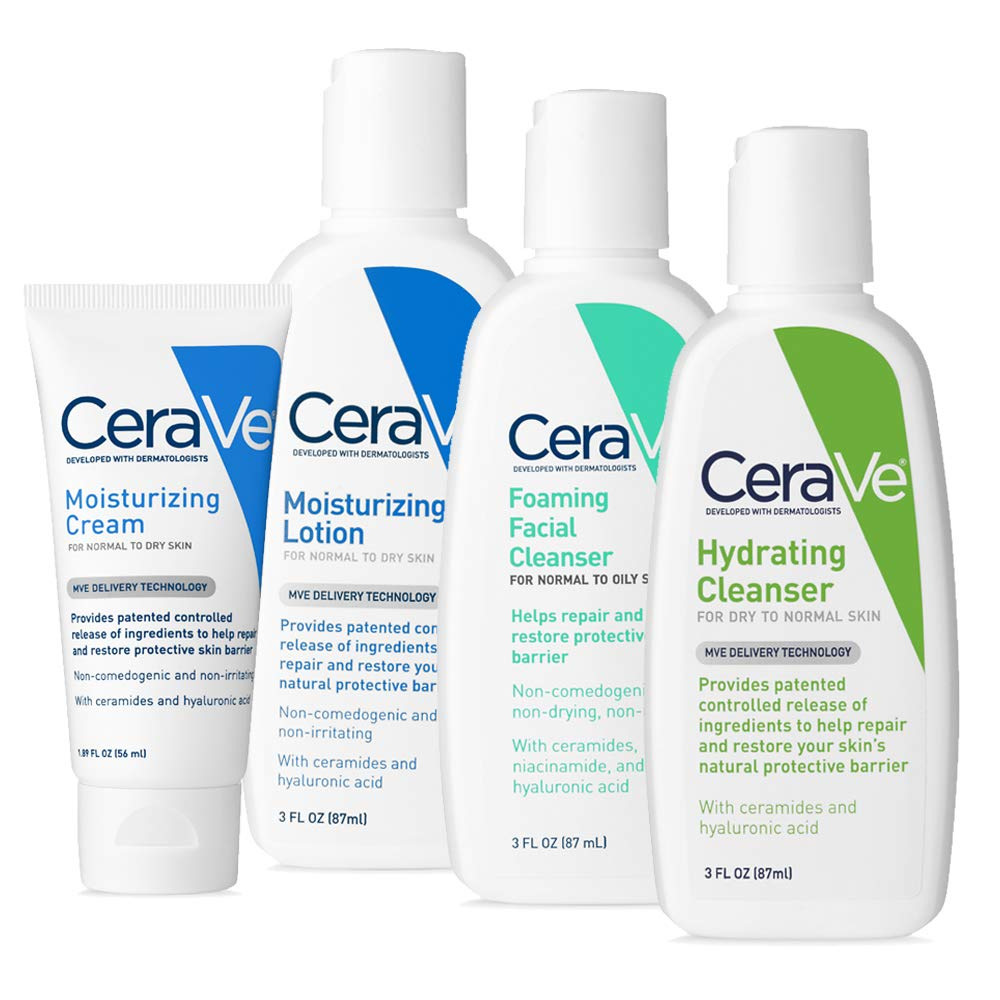 CeraVe Travel Size Toiletries Skin Care Set | Contains CeraVe Moisturizing Cream, Lotion, Foaming Face Wash, and Hydrating Face Wash | Fragrance Free by CeraVe