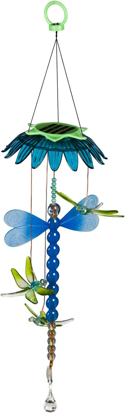 Evergreen Garden Beautiful Summer Colorful Dragonfly Solar Hanging Mobile - 8 x 7 x 29 Inches Fade and Weather Resistant Outdoor Decoration for Homes, Yards and Gardens