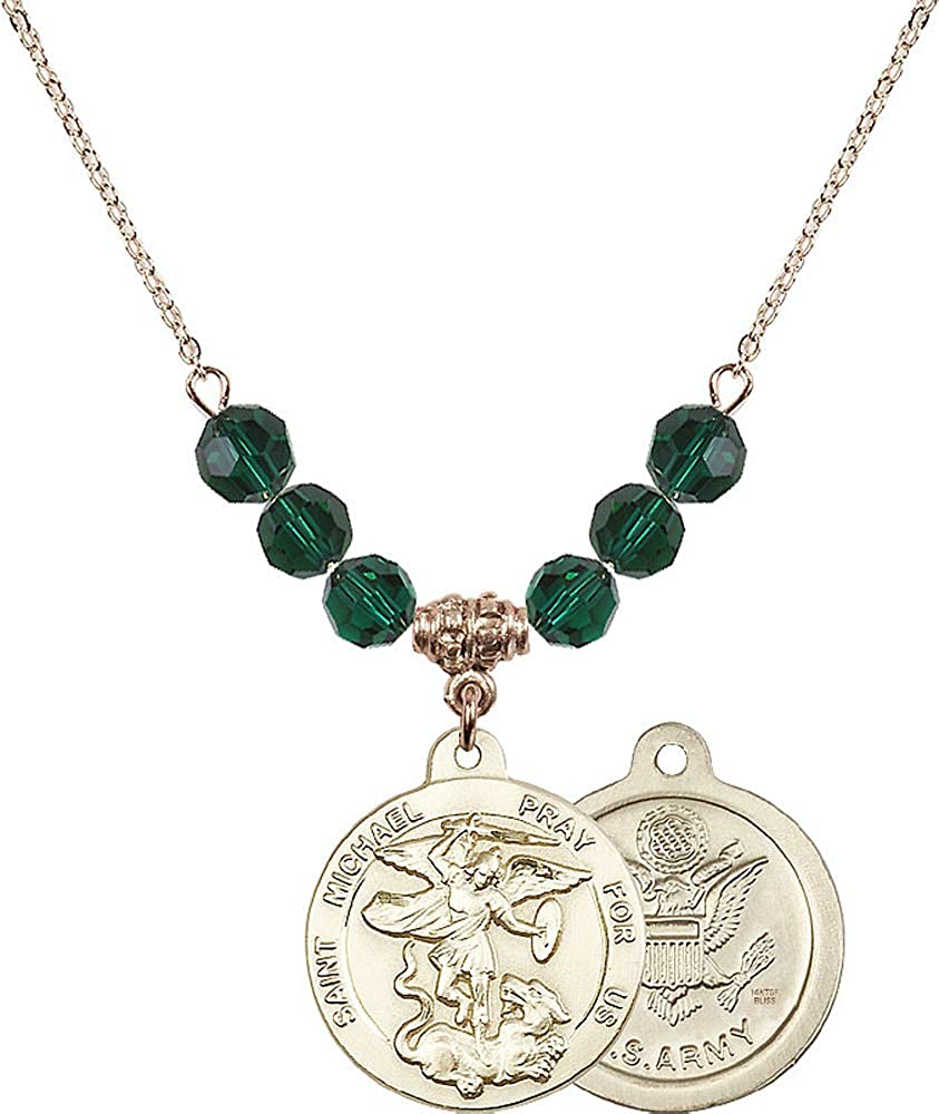 18-Inch Hamilton Gold Plated Necklace with 6mm Emerald Birthstone Beads and Saint Michael//Army Charm Green Emerald May Birthstone Patron Saint of Police Officers//EMTs