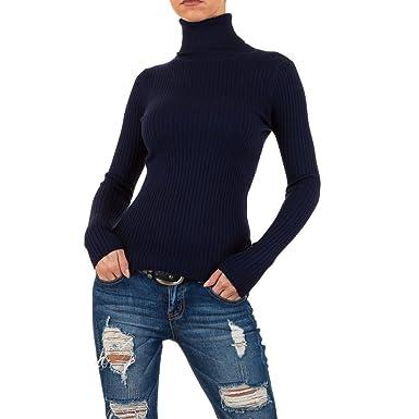 Damen Pullover Crop Strickpullover Ripp Strick Pulli