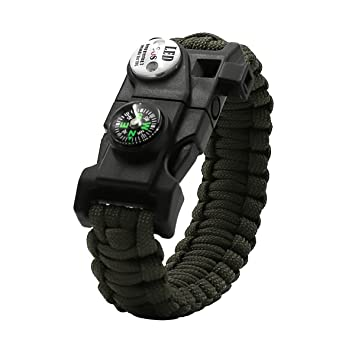 Paracord Bracelet Tactical Survival Gear Kit With Compass Led