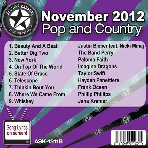 All Star Karaoke November 2012 Pop and Country Hits B (ASK-1211B) by Justin Bieber feat. Nicki Minaj, The Band Perry, Paloma Faith, Imagine Dragons, (November 1, 2012)