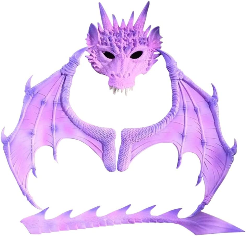 Forart Fantasía infantil halloween dinosaurio dragón disfraz niño animal máscara ala cola accesorios halloween carnaval disfraz cosplay demonio dragón alas para niños adultos