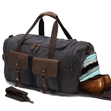 Canvas Duffle Bag Overnight Bags For Men Weekend Travel Duffel Weekender Women Leather