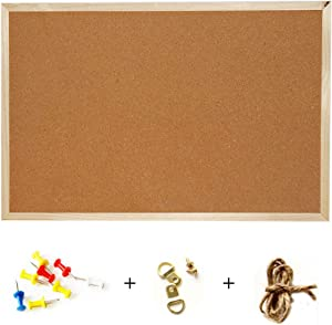 Cork Bulletin Board,Hanging Pin Cork Boards for Office Home School Picture Display (L)