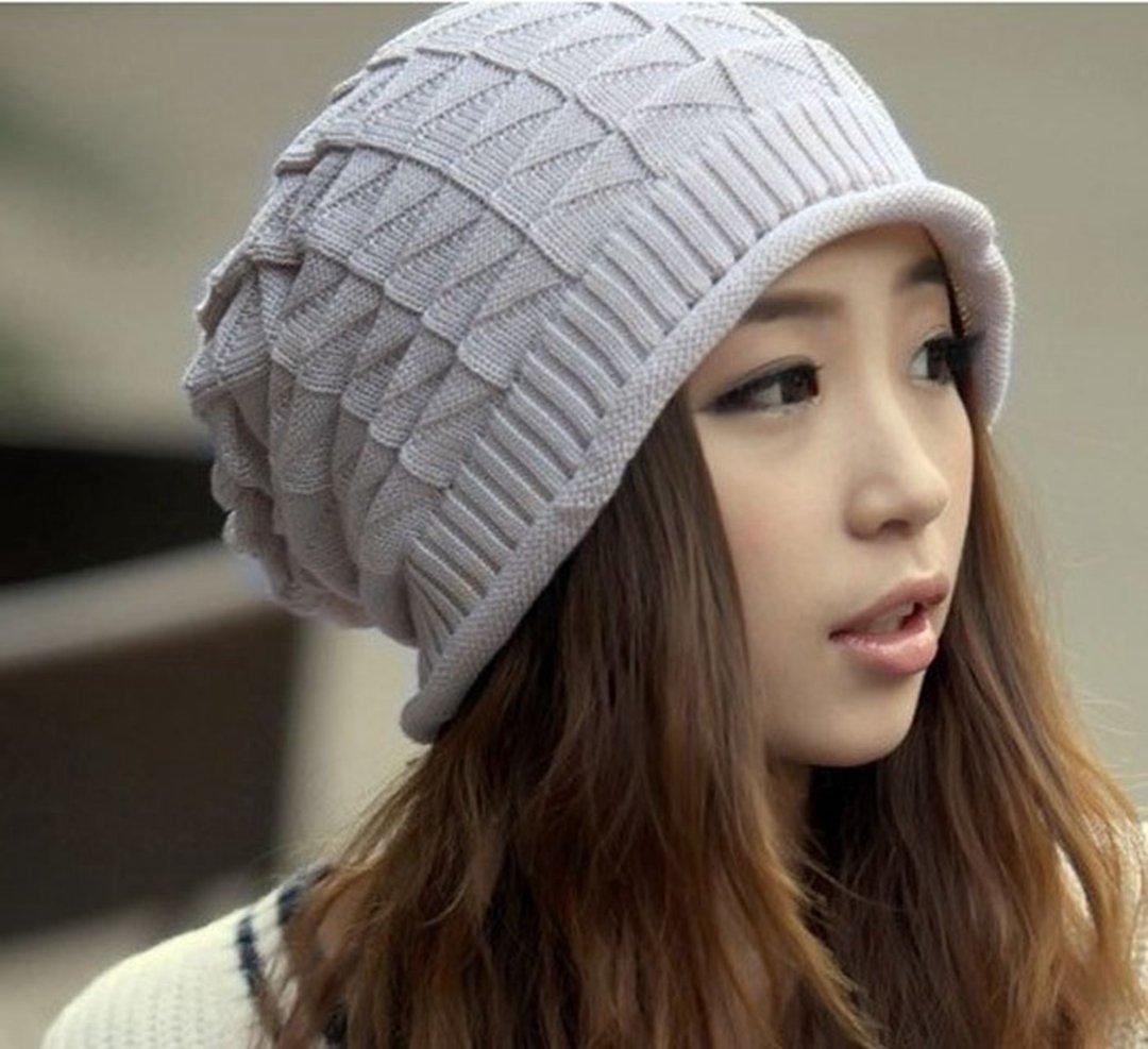 LIFECART Women Girl Triangle Slouchy Knit Beret Beanie Hat Cap Light Gray OneSize, Grey