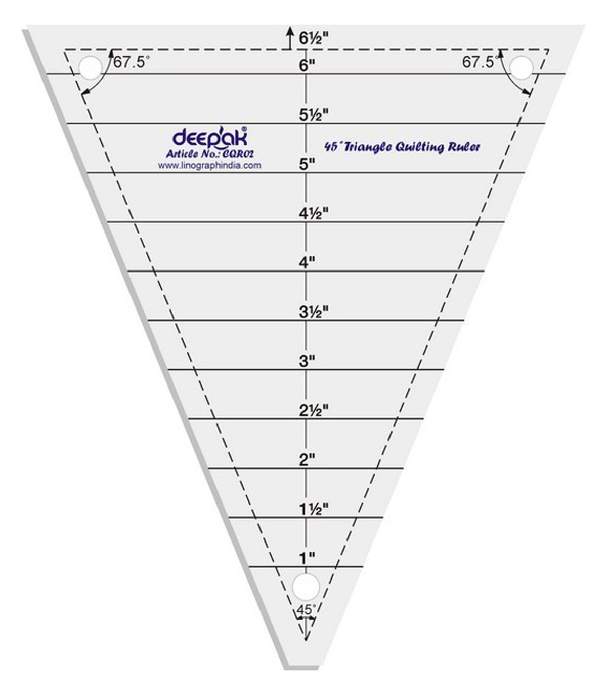 45° Triangle Shape Quilt Designing and Crafting Quilting Ruler Template 6.5 Inches LINOGRAPH