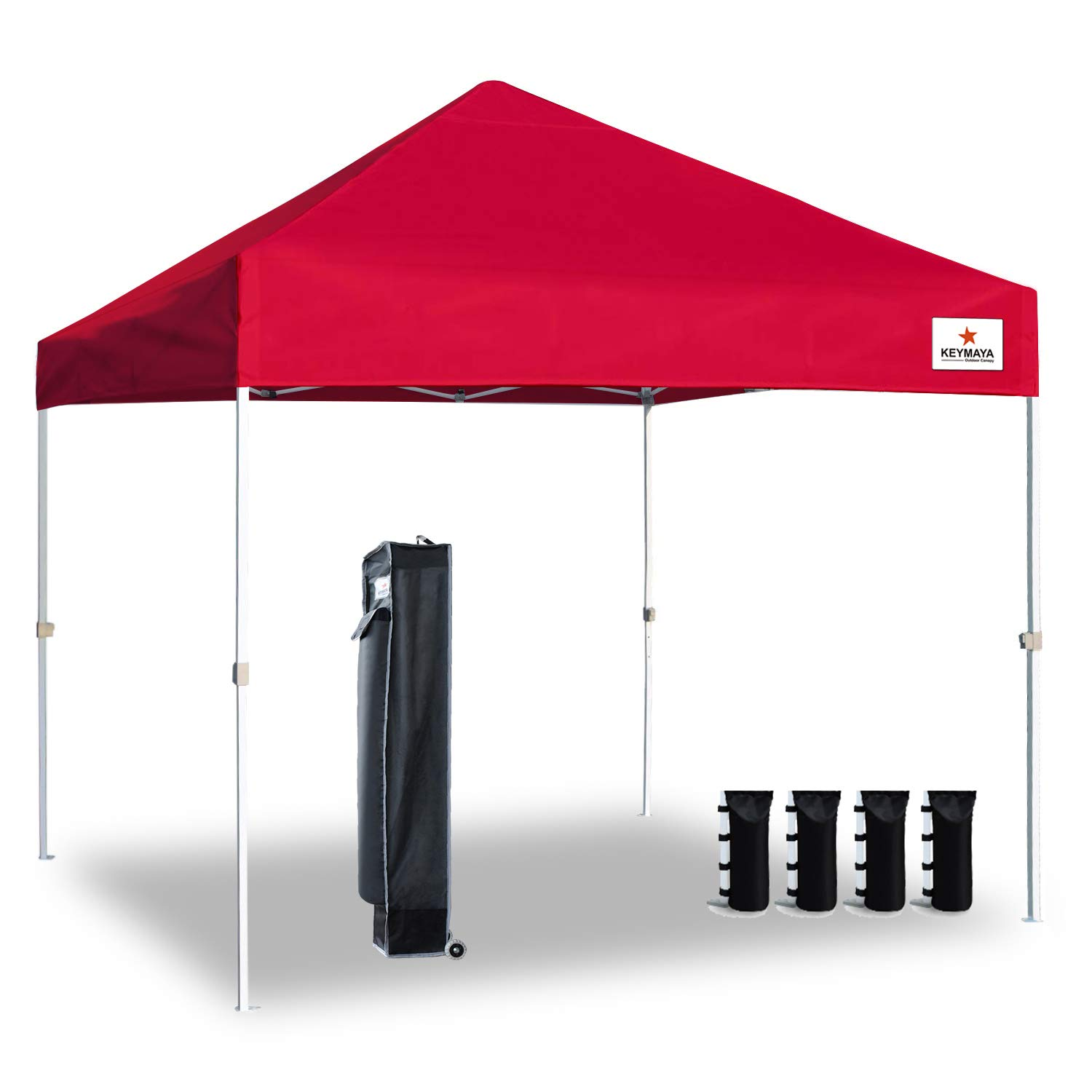 Keymaya 10'x10' Ez Pop Up Canopy Tent Commercial Instant Shelter Canopies Bonus Heavy Duty Weight Bag 4-pc Pack (10x10, A# Red)