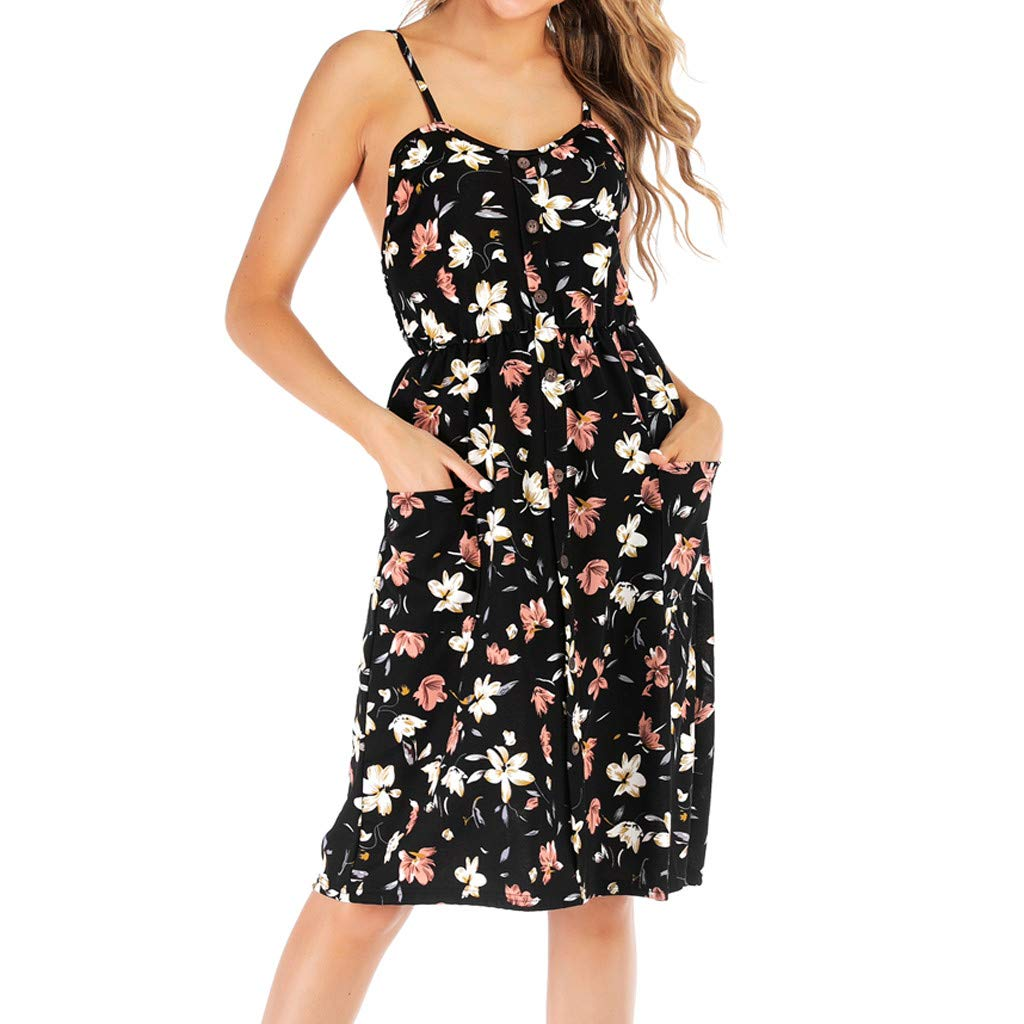 Boho Dresses for Women Casual Summer Maxi, SengeiFloral Print Backless Dress with Pocket Spaghetti Strap Dress (S)