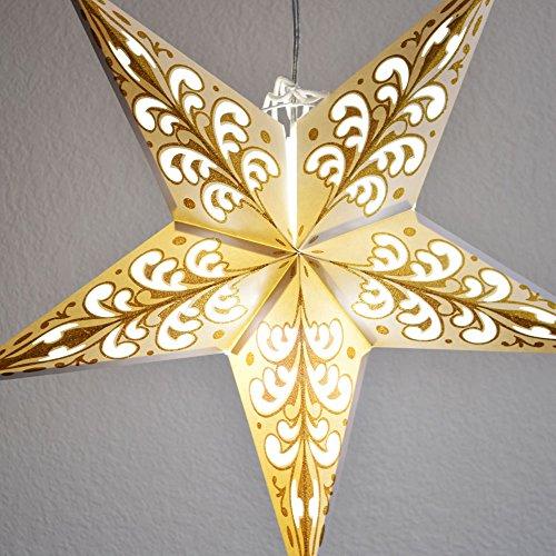 PaperLanternStore.com 24 Gold Wave Glitter Paper Star Lantern, Hanging