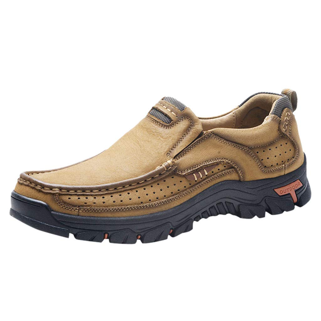Corriee Mens Outdoor Shoes Non-Slip Round Toe Lazy Flats Most Wished Hiking Shoe for Men Khaki
