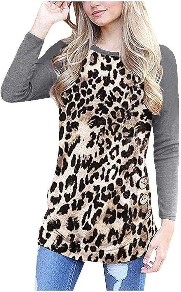 beautyjourney Blusa Leopardo Mujer Blusas de Manga Larga con Cuello Redondo Camisa Básica Camiseta Slim Fit Patchwork Sudadera Jumper: Amazon.es: Ropa y accesorios